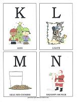 letters K, L, M, N flashcards with christmas theme