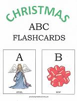 letters A and B flashcards with christmas theme