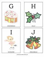 letters G, H, I, J flashcards with christmas theme