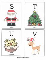 letters S, T, U, V flashcards with christmas theme