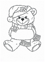 christmas bear coloring page
