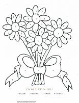 Bouquet Of Daisies Coloring By Number Page