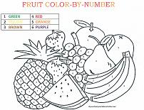 fruit coloring by number page