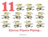 eleven pipers piping wall card