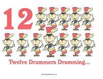 12 drummers drumming wall card