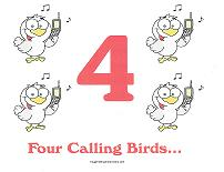 four calling birds wall card
