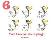 6 geese a laying wall card