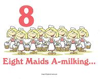 8 maids a milking wall card