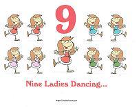 9 ladies dancing wall card