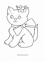 kitten with bow coloring page