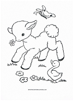 spring lamb and duck coloring page