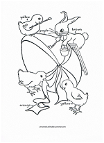 easter bunnies and chicks coloring page