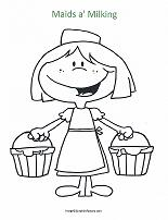 maids-a-milking coloring page