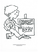 boy at church coloring page