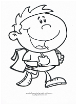 boy with backpack going to school coloring page