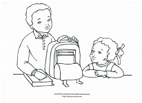 packing backpack for school coloring page