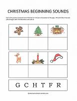 christmas theme beginning sounds worksheet
