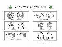 left and right worksheet with christmas theme
