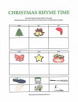 rhyming worksheet with christmas theme