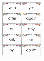 Flashcards of Dolch sight words
