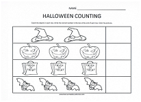 halloween count and color worksheet