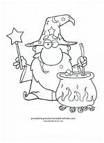 wizard and cauldron coloring page