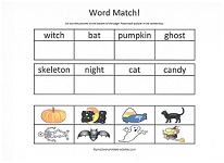 halloween word match worksheet