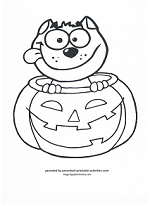 cat in pumpkin coloring page