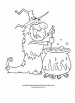 witch and boiling cauldron coloring page