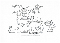 witch cooking over cauldron coloring page