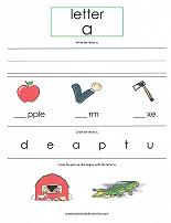 letter A worksheet