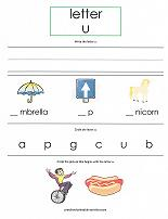 letter U worksheet