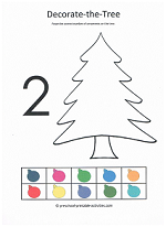 number 2 cut and paste activity decorating the christmas tree