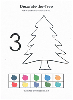 number 3 cut and paste activity decorting the christmas tree