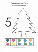 number 5 cut and paste decorate the christmas tree activity