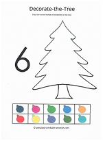 number 6 cut and paste decorations on the christmas tree activity for preschoolers