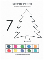 number 7 cut and paste decorate the christmas tree activity