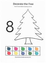 number 8 cut and paste to decorate the christmas tree activity for preschoolers