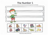 number 1 cut and paste activity with elf on the shelf theme