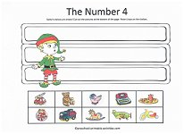 number 4 cut and paste activity with christmas elf theme