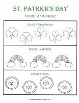 count and color worksheet for st patrick's day