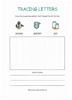 tracing j worksheet