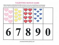 valentines day number match game 5-9