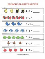 preschool subtraction worksheet