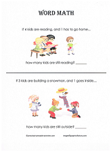 preschool subtraction word problems