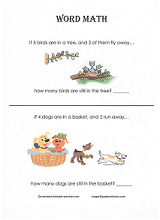 beginners story problem worksheet