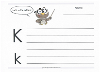 practice writing capital and lowercase k
