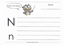 practice writing capital and lowercase n